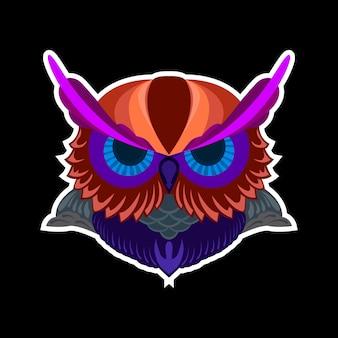 Красочная наклейка головы совы поп-арт