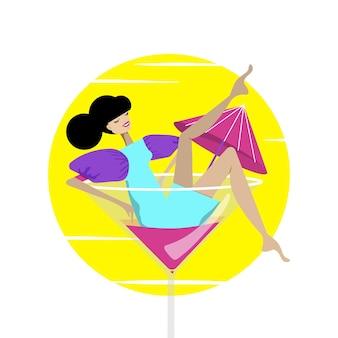 Ãâã'â¡ute女の子は高いカクテルグラスに座っています。ベクトルイラスト。