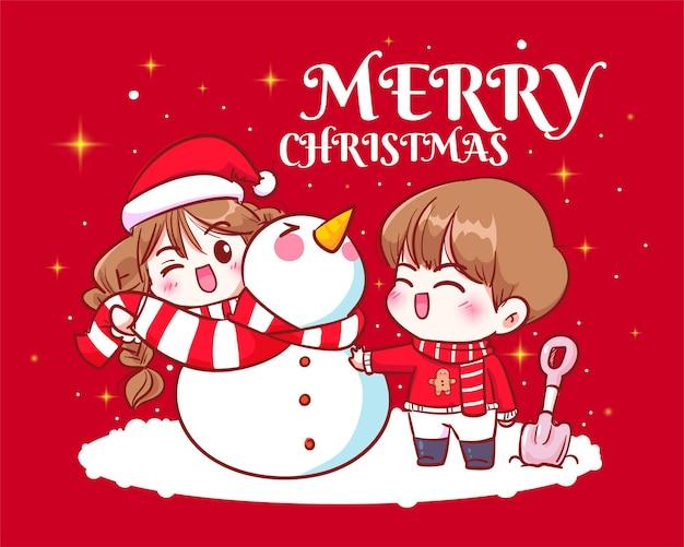 €‹â€‹カップルはクリスマス休暇の手描きの漫画アートイラストで雪だるまを一緒にお祝い