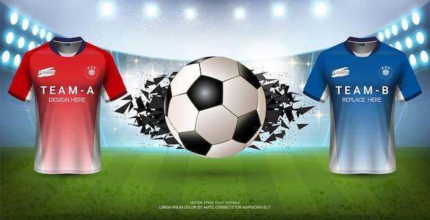 サッカージャージーモックアップチームa対スポーツイベントのbチーム