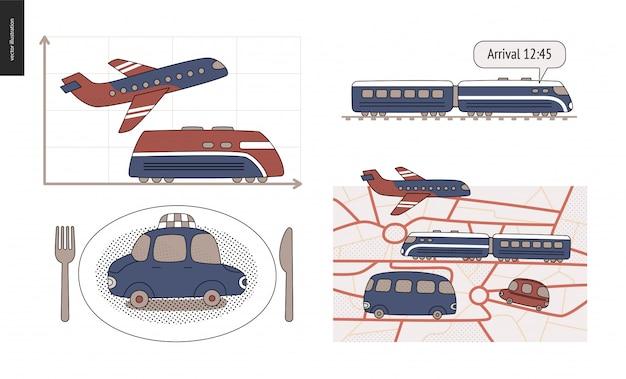 A地点からb地点へ車、電車、飛行機での移動