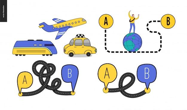 A点からb点までの交通手段