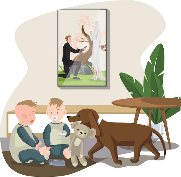 Ребенок и собака пытаются подбодрить другого плачущего ребенка