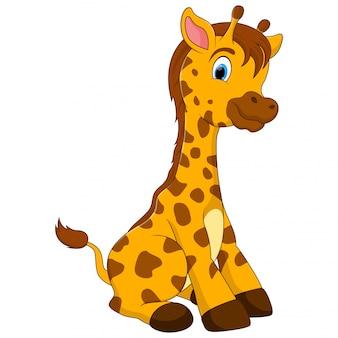 Мультяшный жираф сидит на полу