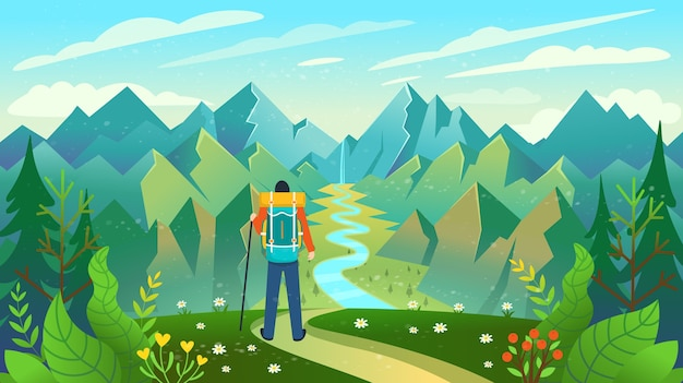 山の頂上に立って川の景色を楽しむバックパッカー