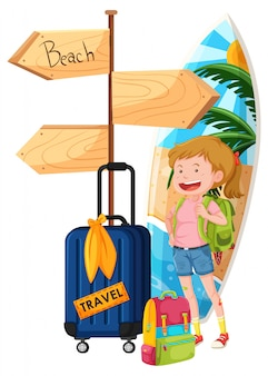 A Backpacker Travel to the Beach
