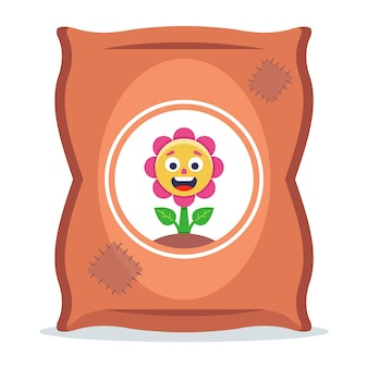 Мешок с удобрениями для растений. плоские векторные иллюстрации.