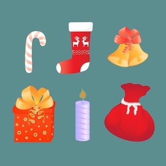 ギフト付きのバッグ、ベル、キャンドル、靴下、ロリポップ。クリスマスの属性。