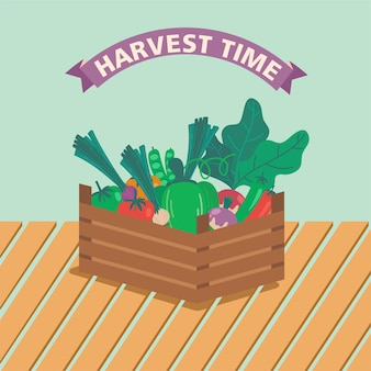Корзина, полная овощей и фруктов летний сезон вектор