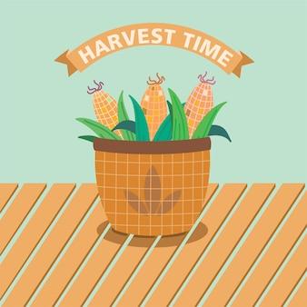 収穫されたトウモロコシのバスケット