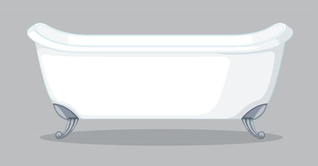 灰色の背景上のバスタブ