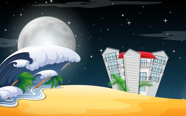 夜のビーチリゾートシーン