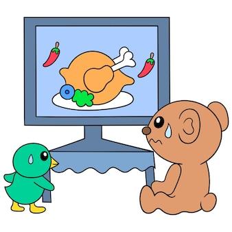 テレビで食べ物を見ているクマとひよこ、ベクトルイラストアート。落書きアイコン画像カワイイ。