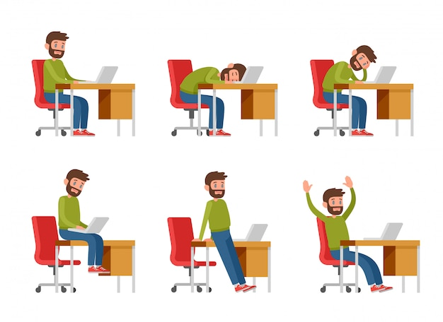 カジュアルな服を着たひげを生やした男がラップトップに取り組んでいます。プログラマー、コピーライター、またはフリーランサーが机に座っています。職場の男性が座って、眠り、退屈し、喜ぶ。