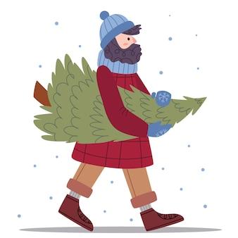 冬服を着たひげを生やした男はクリスマスツリーを運びます。冬のファッション。居心地の良いムード。児童書のイラスト。かわいいポスター。シンプルなイラスト。スカンジナビアスタイル。ミニマリズム。自然。