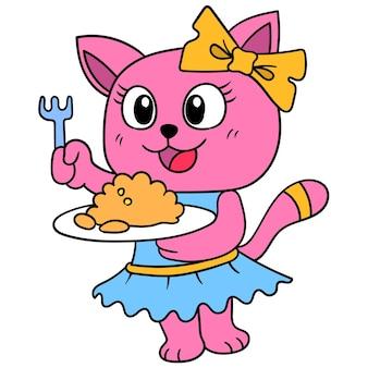 Красивая женщина-кошка подает еду, которую она приготовила, векторные иллюстрации. каракули изображение значка каваи.