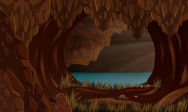 Красивый пейзаж пещеры