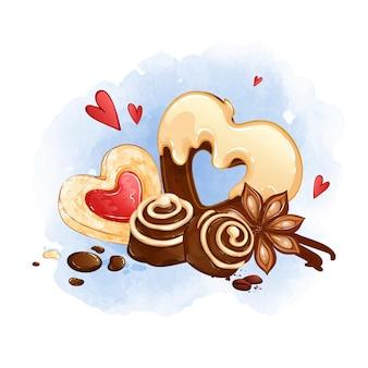 과자, 사탕 및 쿠키의 아름다운 구성. 하트 모양의 과자 구운 제품.