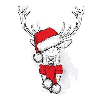 クリスマスの帽子とスカーフの美しい鹿