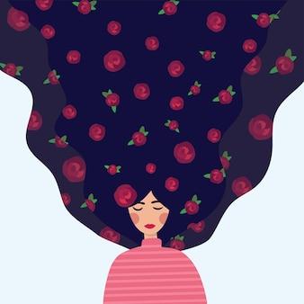 花を持つ美しい少女。長い髪の少女のベクトルイラスト。カードやポスターのかわいいフラット漫画テンプレート。国際婦人デー。
