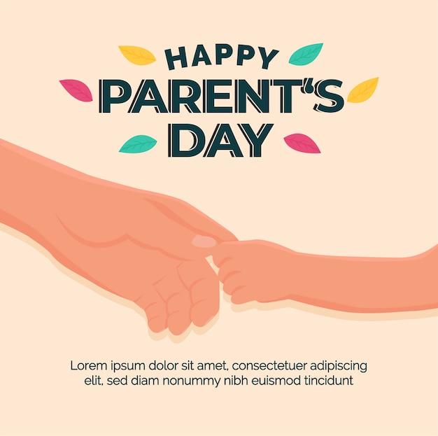 幸せな父母の日の美しいグリーティングカード。子供の手が両親の手を握って。ベクトルとイラストのデザイン