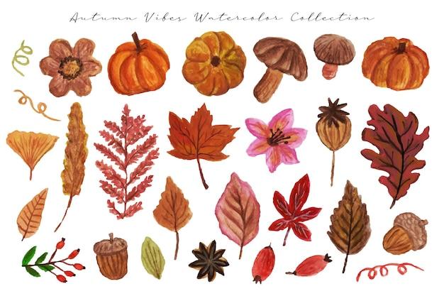 Красивая рисованная цветочная тыква и осенний лист watecolor
