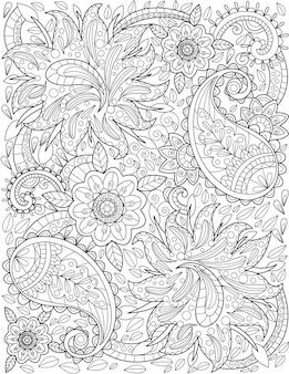 즐겁게 잎에 둘러싸여 천천히 성장 하는 아름 다운 큰 꽃 패턴 그리기. 꽃이 만발한 식물 선 그리기는 큰 꽃잎으로 점차적으로 고리를 그립니다.