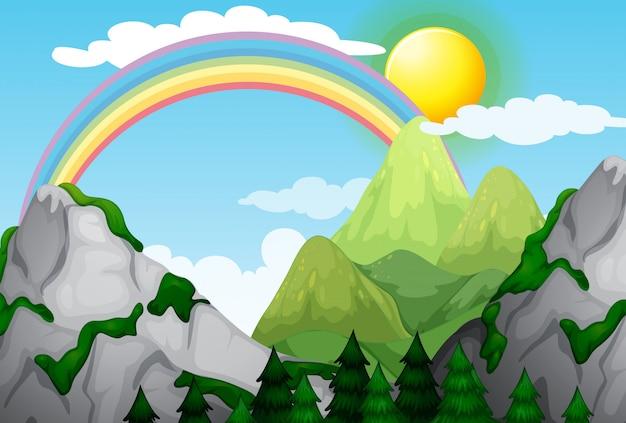 美しい山の風景と虹