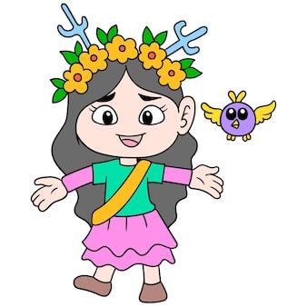 꽃 왕관을 쓴 아름다운 공주, 야생에서 새와 노는 소녀, 벡터 일러스트레이션 예술. 낙서 아이콘 이미지 귀엽다.