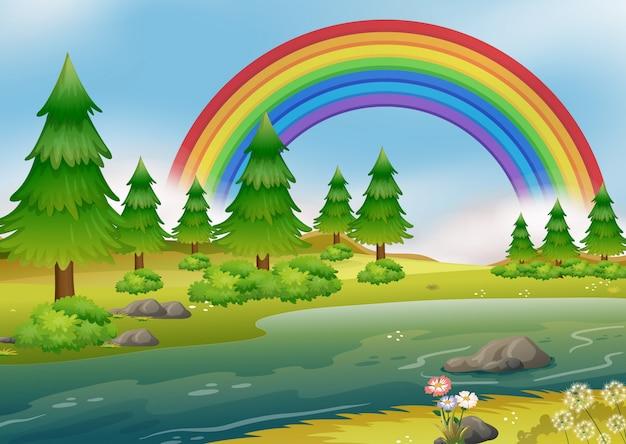 美しい虹の川の風景