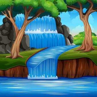 숲에서 아름 다운 폭포 풍경