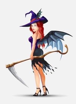 Стоит красивая ведьма с рыжими волосами.