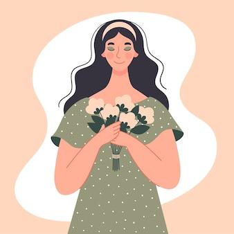 아름다운 여자는 그녀의 손에 흰 꽃의 꽃다발을 보유하고 있습니다. 국제 여성의 날, 3 월, 날짜, 인사 장. 봄 그림