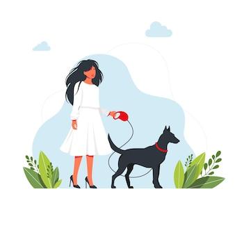 かかとのあるドレスを着た美しい女性が犬と一緒に歩いています。白い背景で隔離。若い女の子はひもにつないで大きな犬と一緒に歩いています。ペットをコンセプトにした余暇。ベクトルイラスト