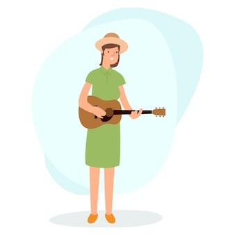 흰색 배경에 고립 된 기타를 연주하는 아름 다운 여자