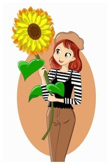Красивая девушка приносит большой солнечный цветок