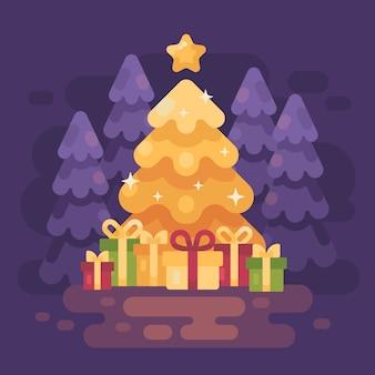 大きな明るい輝くクリスマスツリー