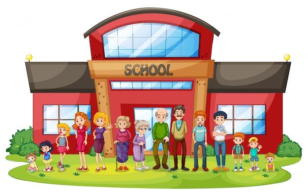 학교 건물 앞에서 큰 가족