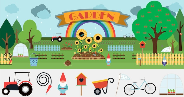 Большой набор векторных предметов для сада плоская иллюстрация симпатичная мультяшная картинка