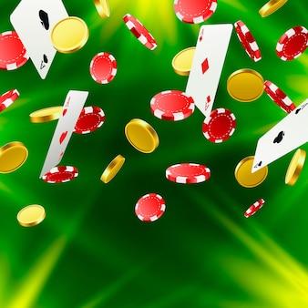 큰 승리입니다. 카지노에서 승리. 비행 칩, 카드 놀이 및 녹색 배경에 동전. 벡터 일러스트 레이 션