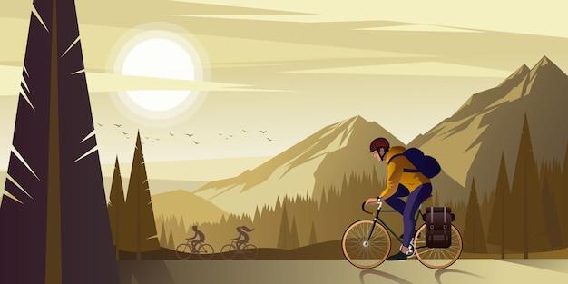 暖かい夏の夜に山で友達と自転車に乗る旅行。