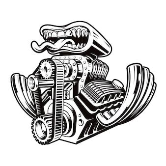 Черно-белая мультяшная иллюстрация двигателя хотрода, изолированная на темном фоне