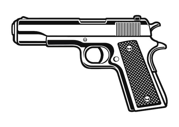 Черно-белая иллюстрация пистолета
