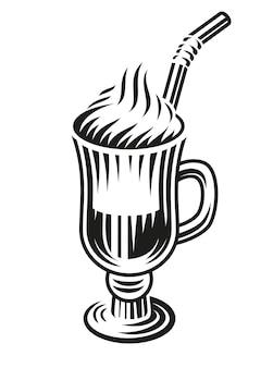 Черно-белая иллюстрация латте на белом фоне.