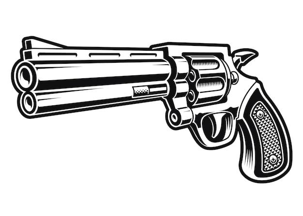Черно-белая иллюстрация револьверного пистолета, изолированного на белом