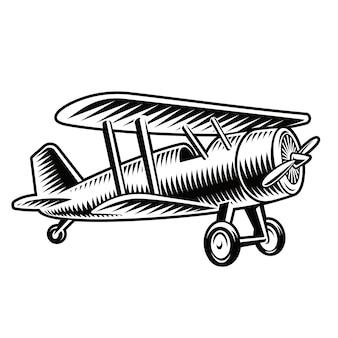 白い背景で隔離のビンテージ飛行機の白黒イラスト。