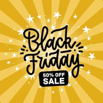 검은 금요일 판매 디자인 플랫 손으로 그려진 문자와 노란색 배경에 흰색 별. 배너에 대 한 광선 배경에 선형 유행 글자.