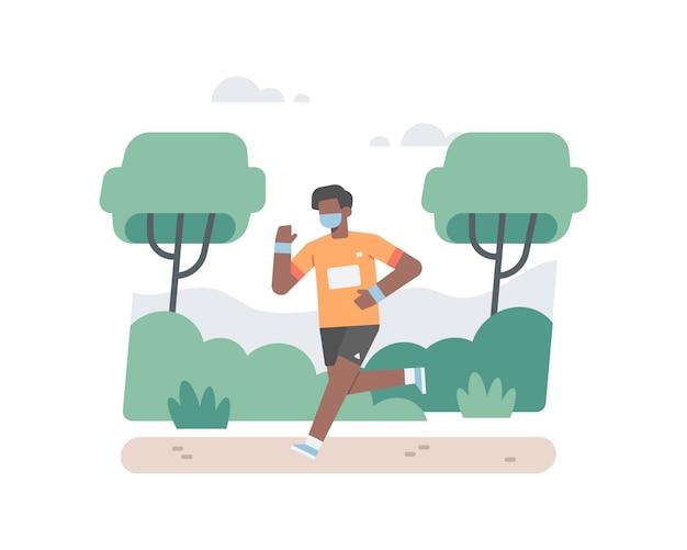 Черный мужчина в маске для лица бежит в одиночестве в лесу, чтобы спастись от пандемии коронавируса