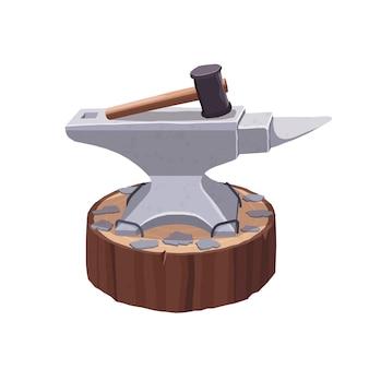 鍛冶屋のハンマー。木製のスタンドにアンビル。鍛冶。白い背景の上のイラスト。