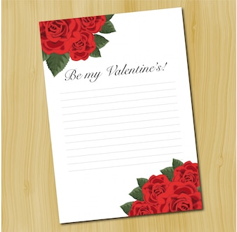 A blank love letter template with red roses